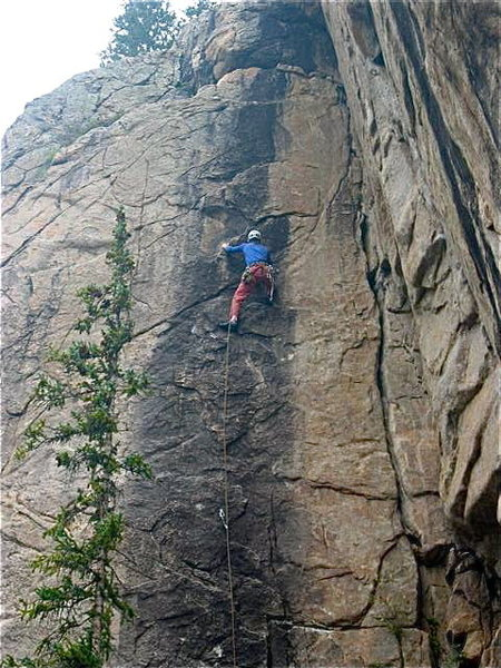 The final crux. From here, you move left and up to the anchors.