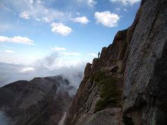 Rock Climbing Photo: Jordon exits Table Ledge. 8/14/2010