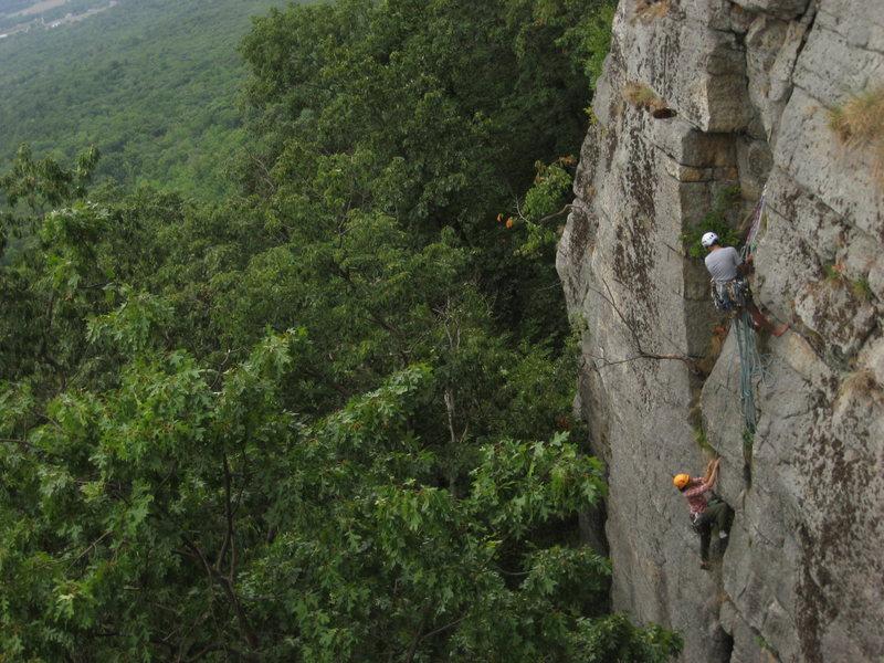 Rock Climbing Photo: Amit and Manasi finishing up P1.