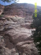 Rock Climbing Photo: Second pitch can be seen to the right of center, s...