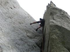 Rock Climbing Photo: Emilisa working the chimney rests
