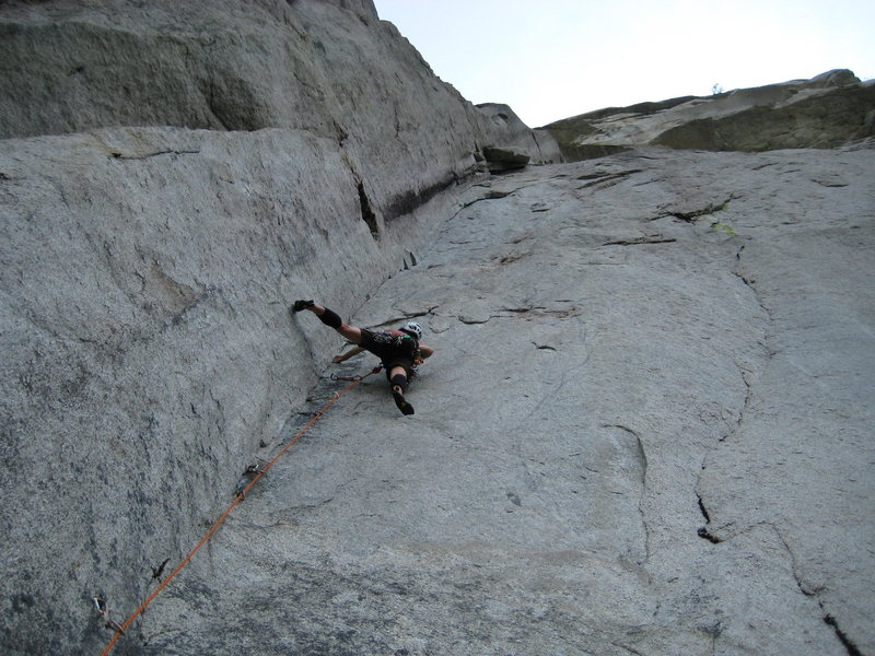 Rock Climbing Photo: Dr. Frirdich on pitch 1, 5.12a.