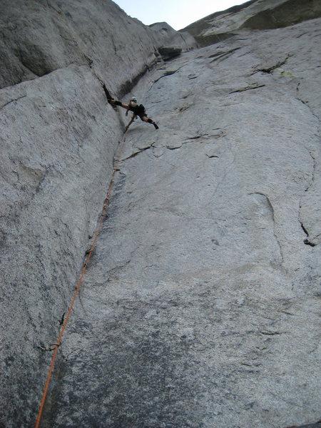 Rock Climbing Photo: Leg pumping rests.