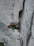 Rock Climbing Photo: wide layback section is the crux of pitch 2.