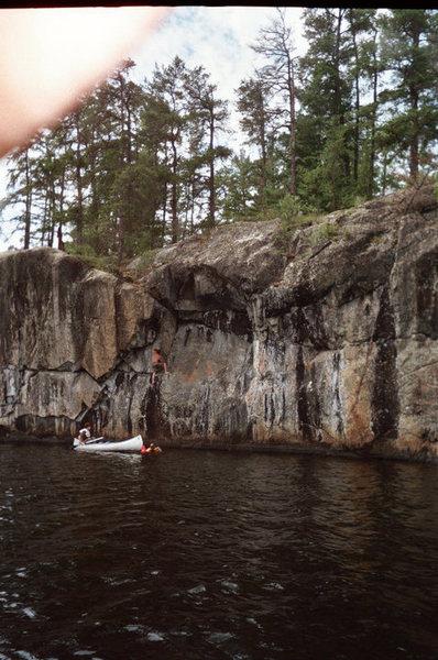 Rock Climbing Photo: Me finishing the traverse of keaglemainia