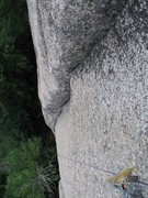 Rock Climbing Photo: Looking down while cleaning the middle of the seco...