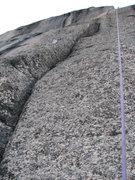 Rock Climbing Photo: Looking up the second pitch, prescrubbing, destort...