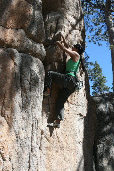 Rock Climbing Photo: Marina on the starting moves of Easy Crack 5.8