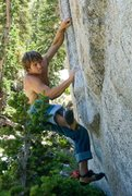 Rock Climbing Photo: The rut, v5,  big committing move to the lip,  we ...