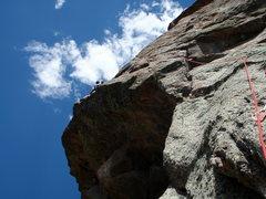 Rock Climbing Photo: Frosty tiptoeing along the lip.