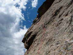 Rock Climbing Photo: The funky (but fabulous) fourth pitch. Photo by Fr...