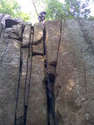 Rock Climbing Photo: no answer 5.8 off width crack where rope is hangin...