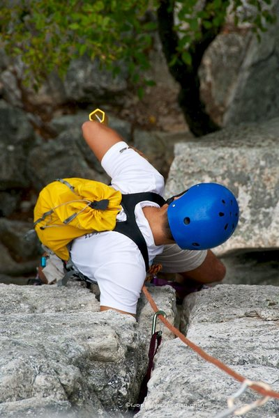 Rock Climbing Photo: Mike cleaning up Critter Crack.