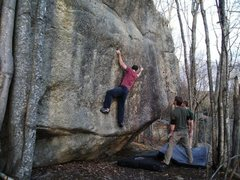 unknown problem on the upper boulder at Bradbury Mountain