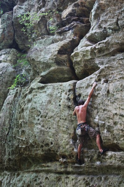 Working the final moves of Different Strokes 11c. Photo by Michael Levato.