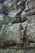 Rock Climbing Photo: Working the final moves of Different Strokes 11c. ...