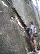 Rock Climbing Photo: Loran getting ready to lead,you can see how big th...