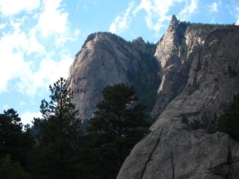 Rock Climbing Photo: Idiot Wind on Sundance Buttress (w/ Firebird start...