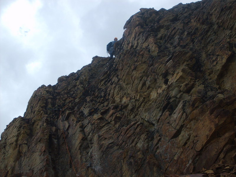 The final, short, class 4 simul-climbing to the summit ridge.  Still loose as all hell.