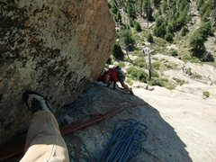 Rock Climbing Photo: J. Seaver following pitch 2.  Photo by John Tormal...