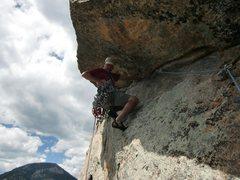 Rock Climbing Photo: J. Seaver starting the crux pitch 3.  Photo by Joh...