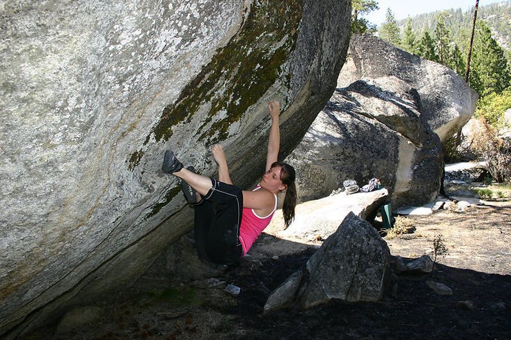 Rock Climbing Photo: Some unnamed v6 thing we did. Halo sits on the ste...