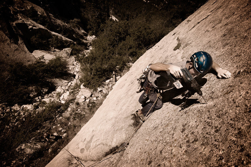 Ian Nielson drilling on lead in Little Cottonwood Canyon, UT