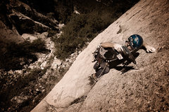 Rock Climbing Photo: Ian Nielson drilling on lead in Little Cottonwood ...