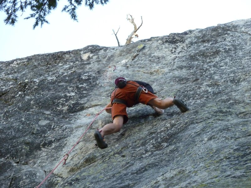 Rock Climbing Photo: Mid crux on the first ascent of Tiger's Eye, 5.10c