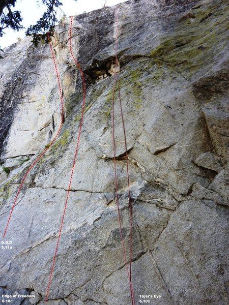 Rock Climbing Photo: Main wall central Topo