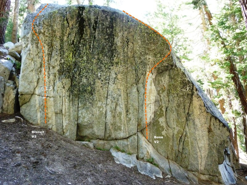 Horseshoe Slabs Boulder, East Face Topo
