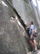 Rock Climbing Photo: Loran starting Beelzebub corner