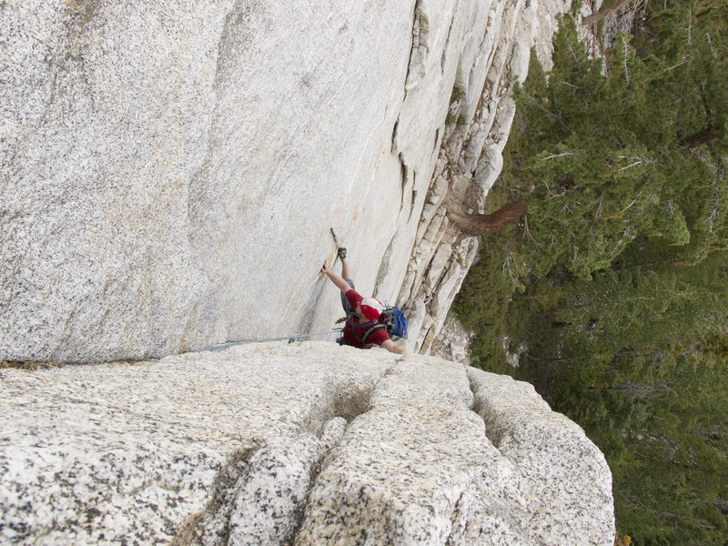 Rock Climbing Photo: A view from the top of the first belay ledge (appr...