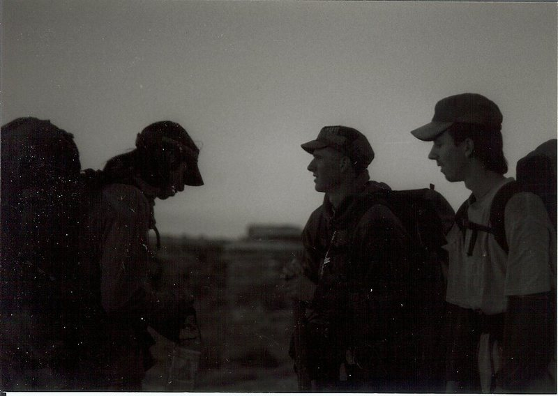 Jeremy J Schlick, Luke Evans, and Seth Dyer talking logistics on the way to the confluence of the Green and Colorado rivers. Needles District, Canyonlands, UT.  Epic adventure.  Luke with his didgery.