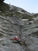 Rock Climbing Photo: Climber following Moby Dick.