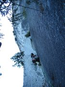 Rock Climbing Photo: steep first pitch.  blue alien before the crux wil...