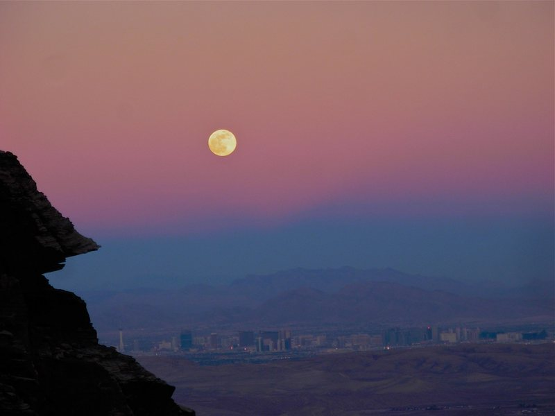 Moonrise over Vegas, on the hike out from Disappearing Buttress.