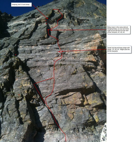 Rock Climbing Photo: Culp-Bossier pitch 1-2 topo.