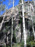 Rock Climbing Photo: Green - Hoop Snake. White - Peanut Butter Bucket.