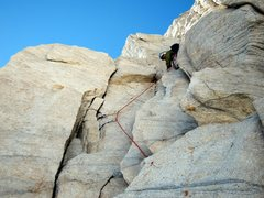 Rock Climbing Photo: Me leading fifth pitch (5.8).  Photo by Justin Mar...
