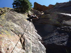 Rock Climbing Photo: CM leading the first pitch dihedral.
