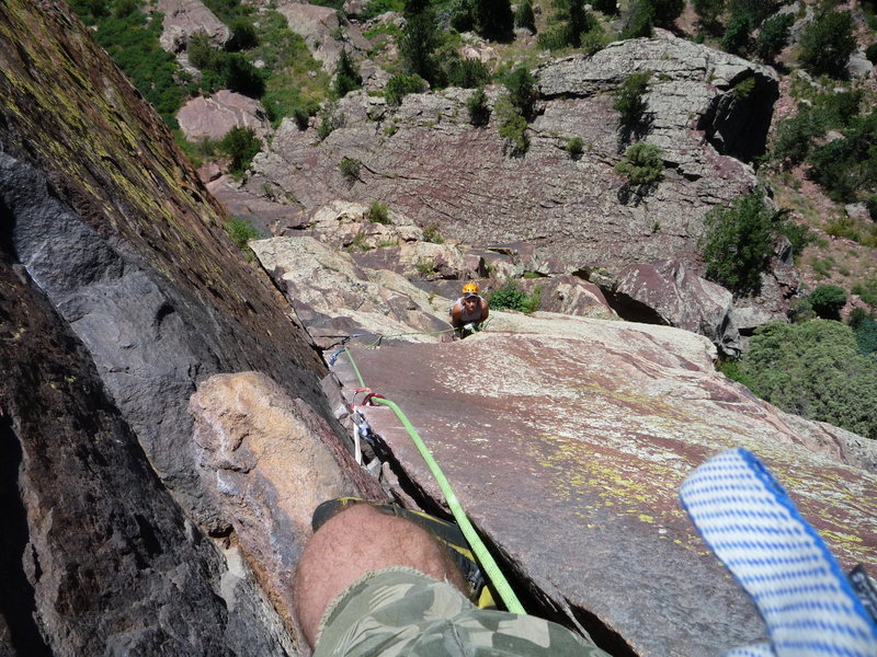"Looking down to the Belay below ""The Crack""."