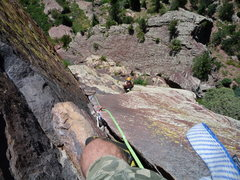 """Rock Climbing Photo: Looking down to the Belay below """"The Crack&qu..."""