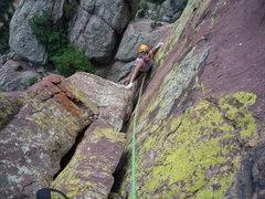 Rock Climbing Photo: CM finishing the 1st pitch.