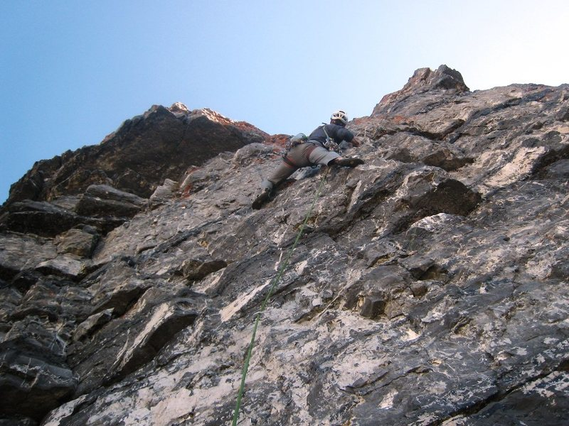 Rock Climbing Photo: Steppin' up on the last pitch of Evil Eye