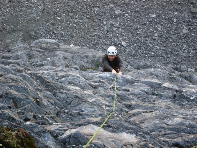 Coming up the second pitch of Evil Eye