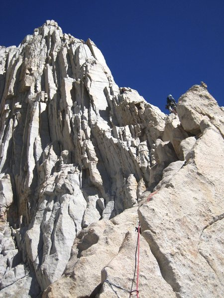 Pitch 4 (the way we did it) on the Fishhook Arete