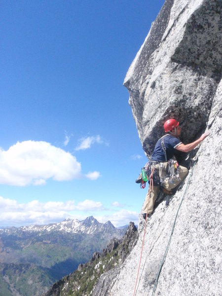 Rock Climbing Photo: Rankin leading the way on Pitch 4