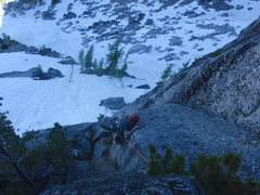 Rock Climbing Photo: Making the move on Pitch 1