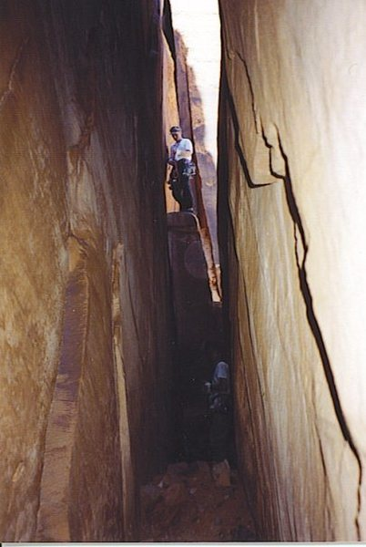 Luke Evans up high, and Seth Dyer in the hole on Sunflower Tower, Bridger Jack, Indian Creek, UT 1997